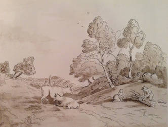 Landscape with cattle study by Ned-The-Hat