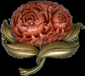 Vintage Coral Flower Brooch
