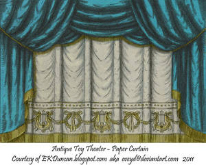 Teal Toy Theater Curtain 1
