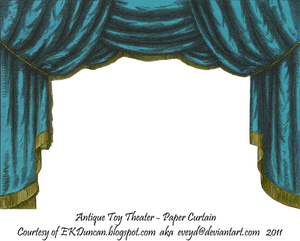 Teal Toy Theater Curtain 2