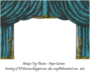 Teal Toy Theater Curtain 3