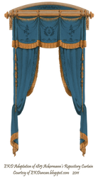 1815 French Curtain - Blue