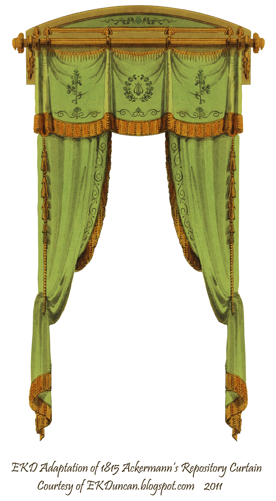 1815 French Curtain - Green by EveyD
