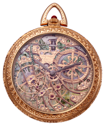 Antique Vintage Pocket Watch with Map Background