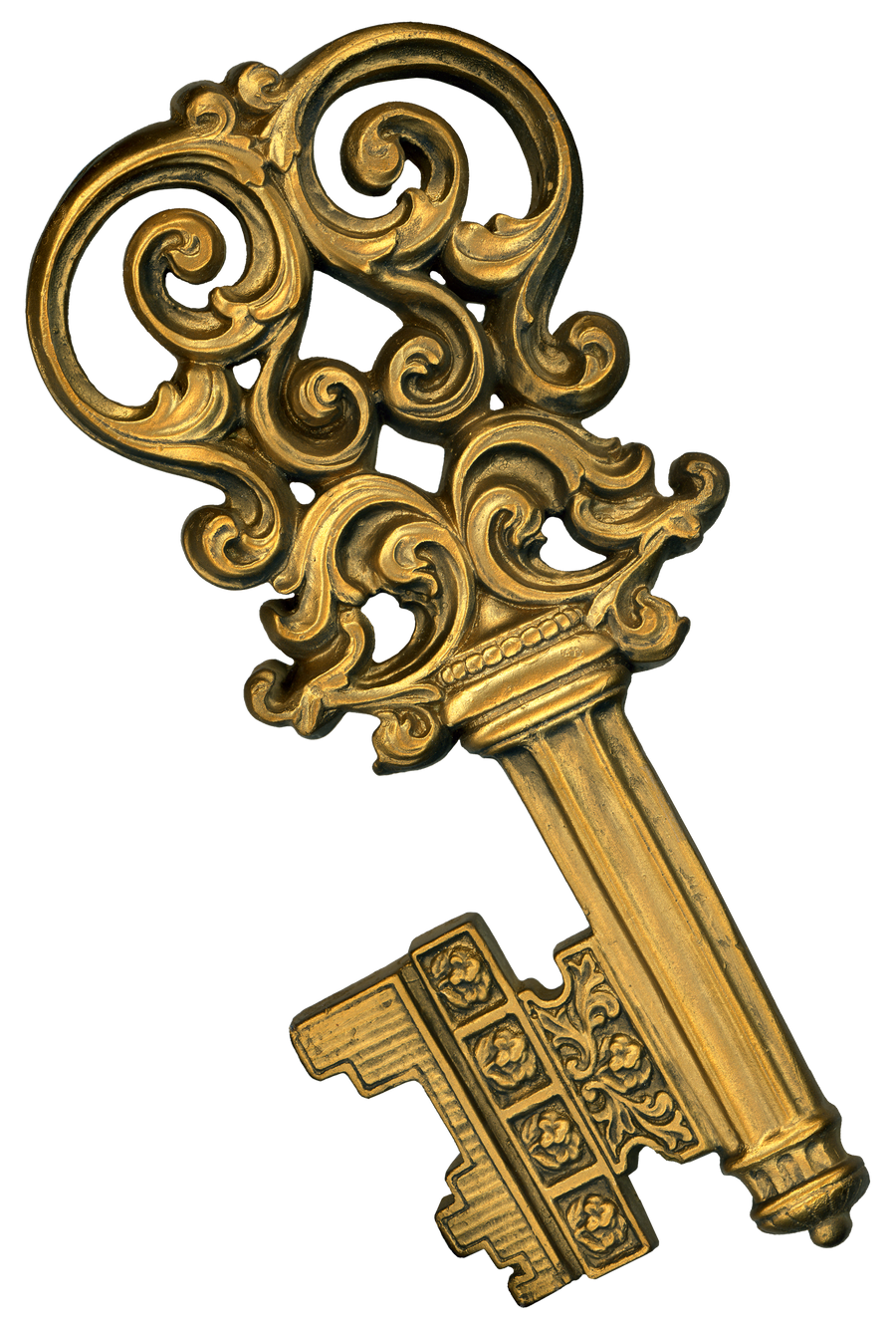 Retro Fancy Gold Plaster Key Wall Plaque by EveyD