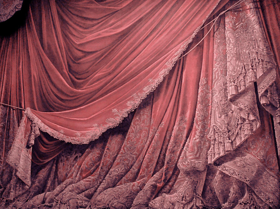 Backdrop Vintage Theater Stage Curtain - Pink