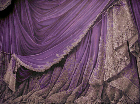 Backdrop Vintage Theater Stage Curtain - Plum