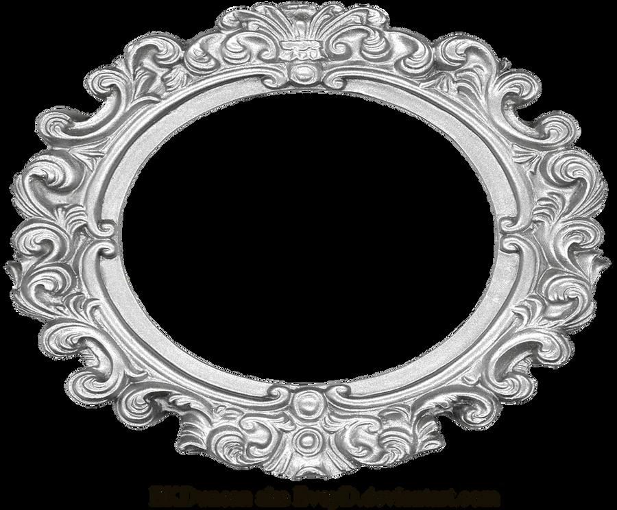 Ornate Silver Frame - Wide Oval by EveyDOval Vintage Frames Png