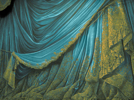 Backdrop Vintage Theater Stage Curtain - Aqua