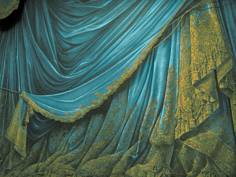 Backdrop Vintage Theater Stage Curtain - Aqua by EveyD