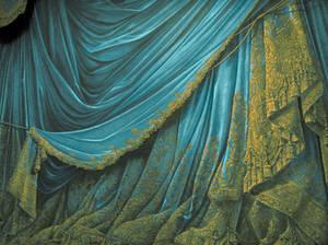 Backdrop Vintage Theater Stage Curtain - Aqua