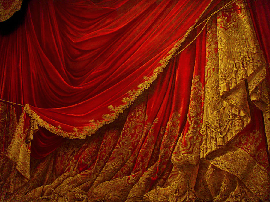 Backdrop vintage theater stage curtain red by eveyd on for Red and gold drapes