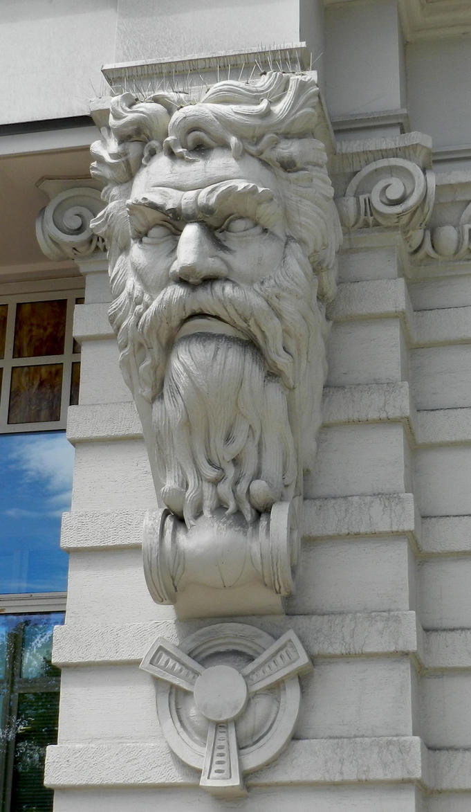Stone carved man face on building by eveyd deviantart