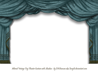 Dark Teal Paper Theater Curtain with Shadow