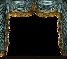 Paper Theater Curtain - Aqua