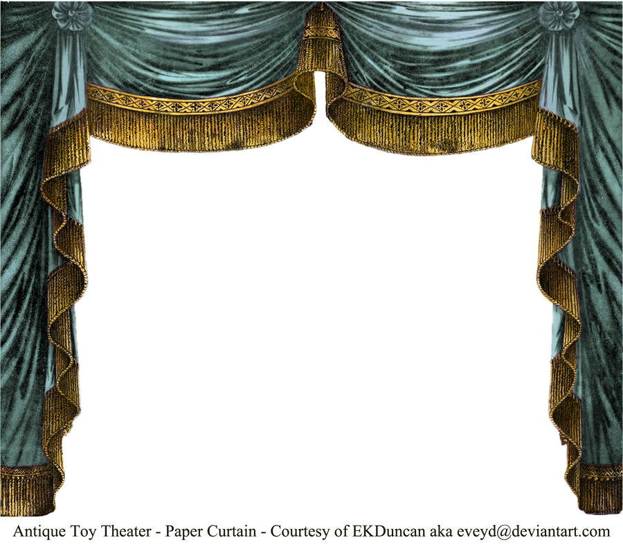 Paper Theater Curtain - Aqua by EveyD