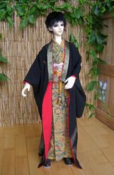 BJD kimono, Black Formal Furisode with Phoenix