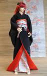 BJD Kimono, Black and Red
