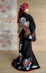BJD Kimono, Black Peonies