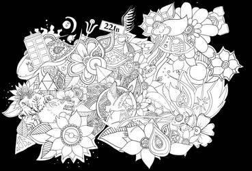 Geek Henna Line Art
