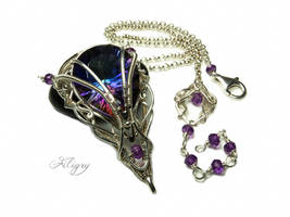 Queen of Avalon - Mystic Quartz, Amethyst Pendant by FILIGRY