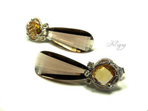 Indian Summer-Citrine, Smoky Quartz Earring by FILIGRY