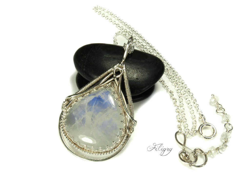Moonstone 935 Silver Pendant, 925 Silver Necklace by FILIGRY