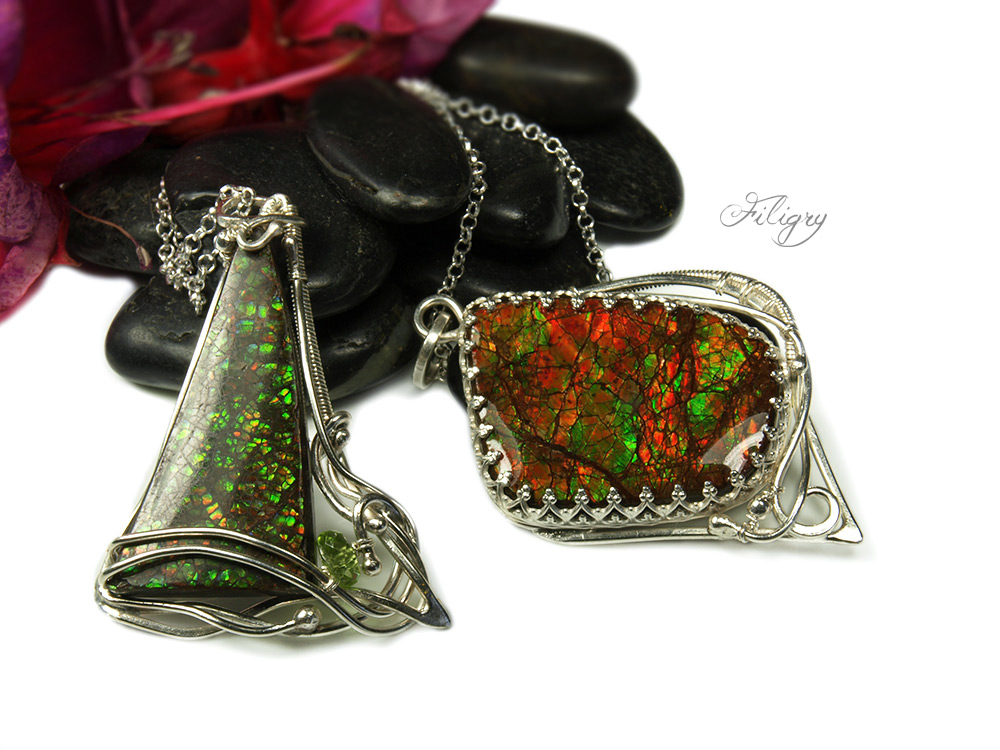 Ammolite with Peridot Silver Pendant by FILIGRY