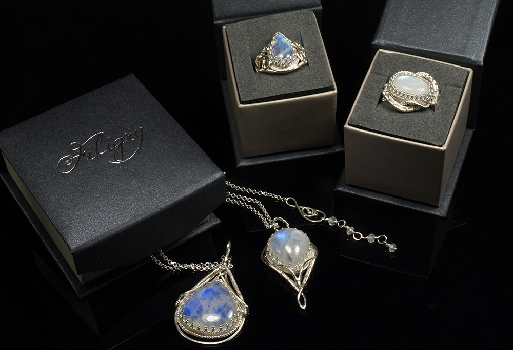 Unique necklaces and rings with moonstones. by FILIGRY