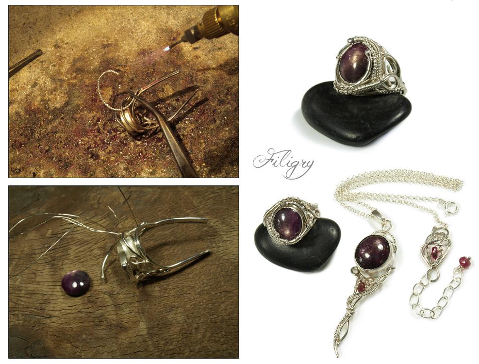 Star Ruby Jewelry Set by FILIGRY