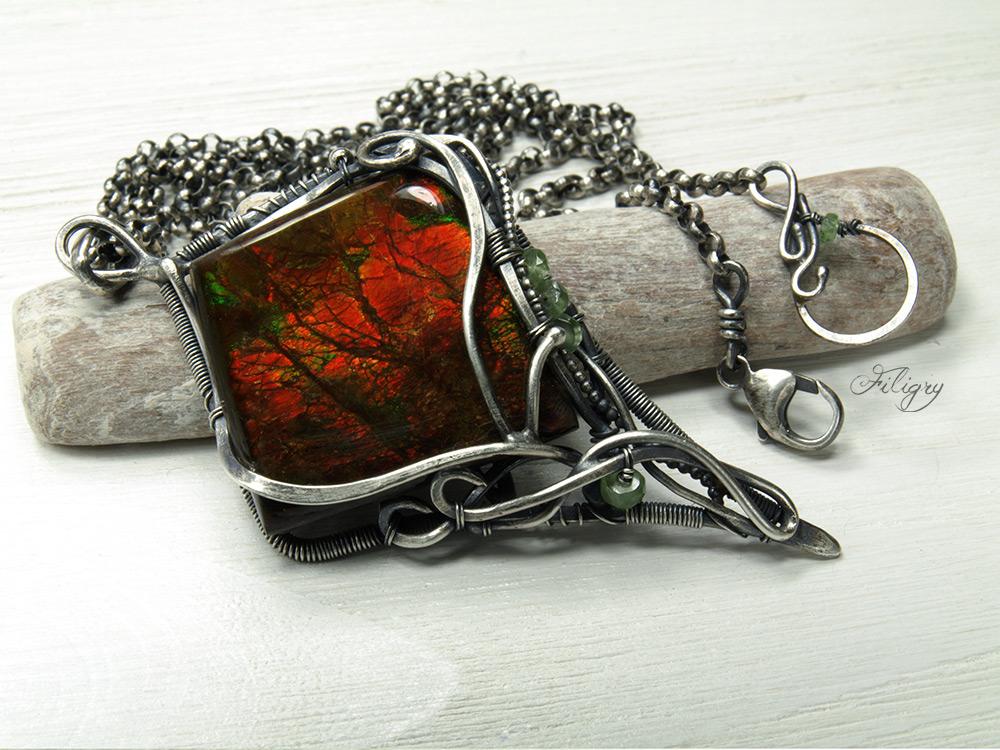 Dragon Flower - Ammolite, Tourmaline Pendant by FILIGRY