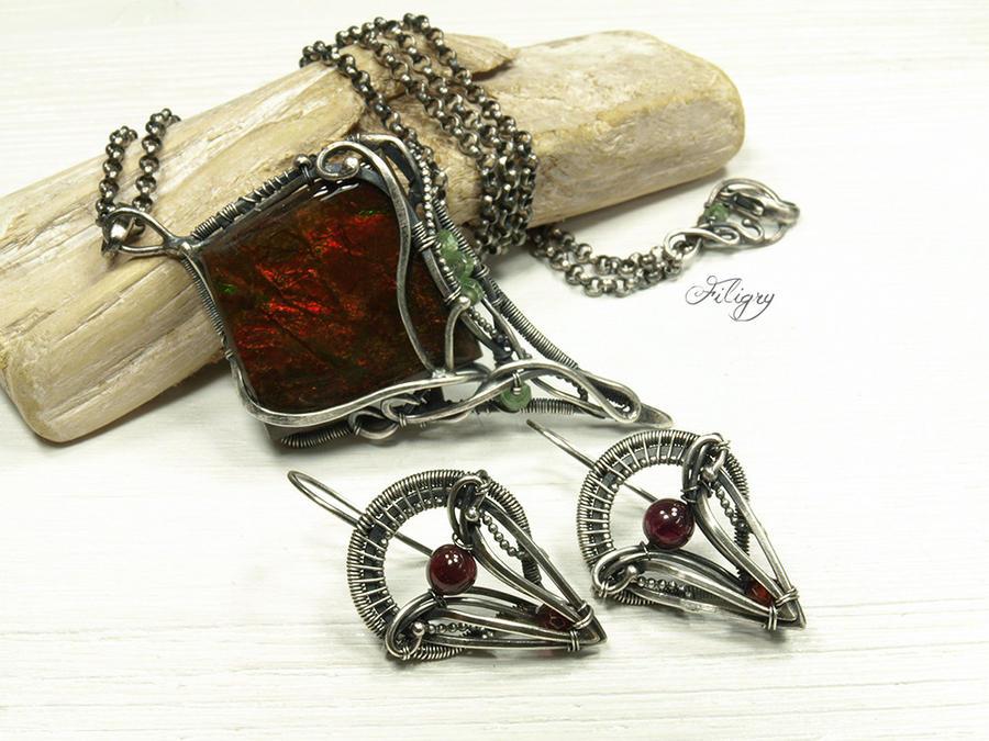 Dragon Flower - Ammolite Set by FILIGRY