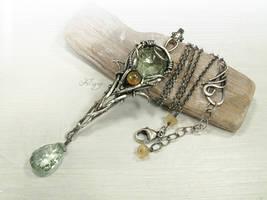 Aurelia - green Amethyst, Welo Opal Necklace by FILIGRY