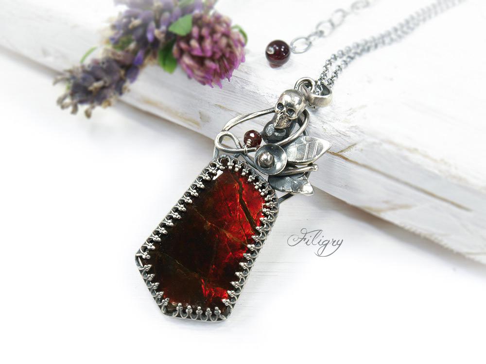 Asha-Ammolite, Garnet Necklace by FILIGRY