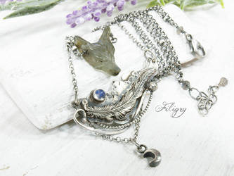 Labradorite Wolf, Moonstone 935 Silver Necklace by FILIGRY