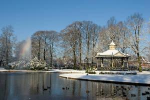 Park in winter-blue by steppelandstock