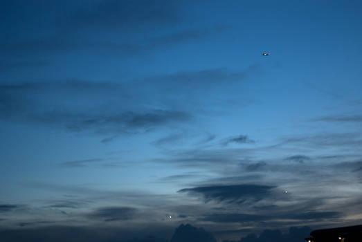 Deep blue sky and planes