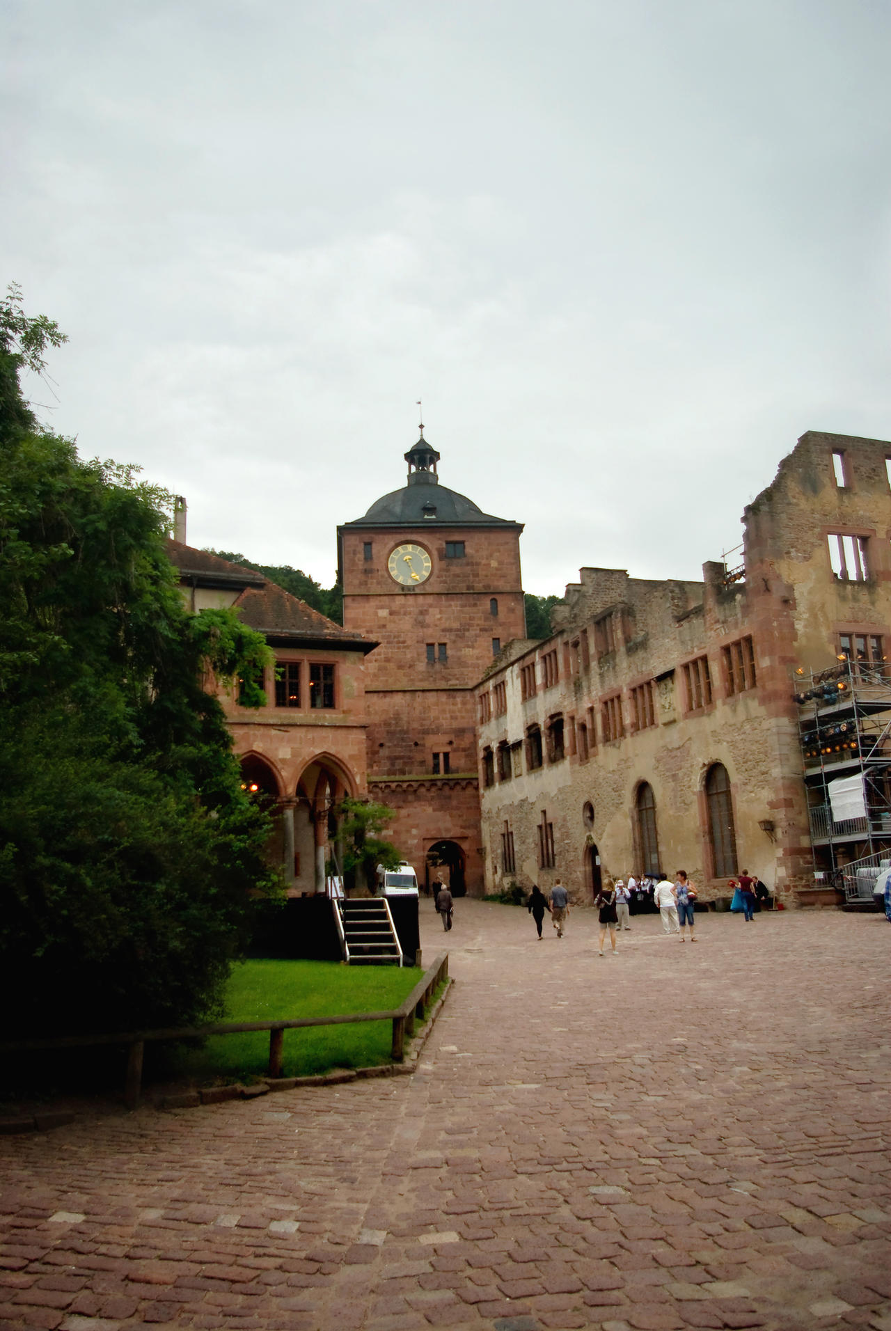 Heidelberg Castle - Courtyard and clock tower by steppelandstock