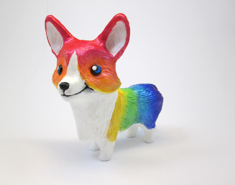 Rainbow Corgi by DragonCid