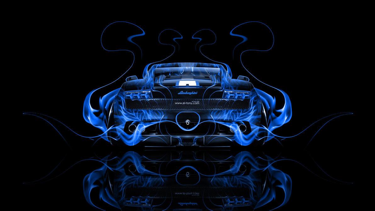 Awesome Lamborghini Gallardo Back Blue Fire Abstract Car 2 By ...