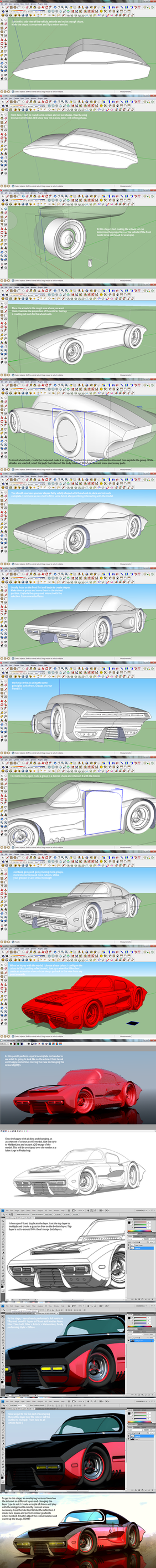 Bomber coupe SKETCHUP WORKFLOW - start to finish by aconnoll