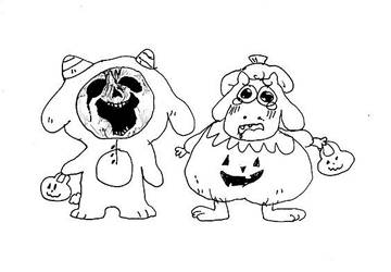 Asriel and Chara on Halloween.... by DinoDilopho
