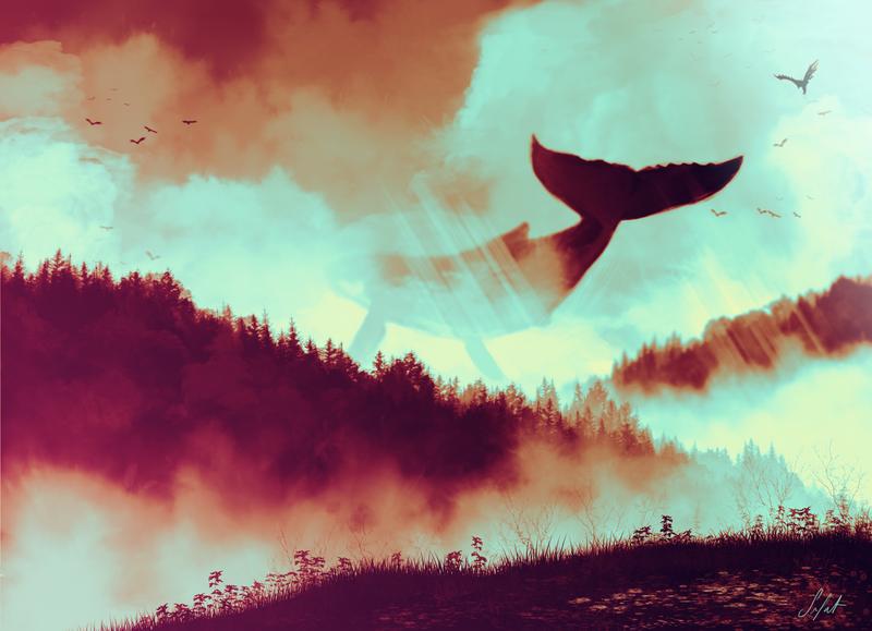 Day 55: Flying whale by TrollcreaK