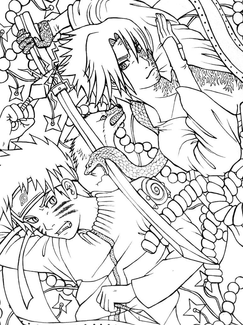 Naruto vs Sasuke by Clover31