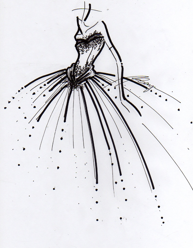 Line Art Illustration Style : Bridal ball gown by fasyonish on deviantart