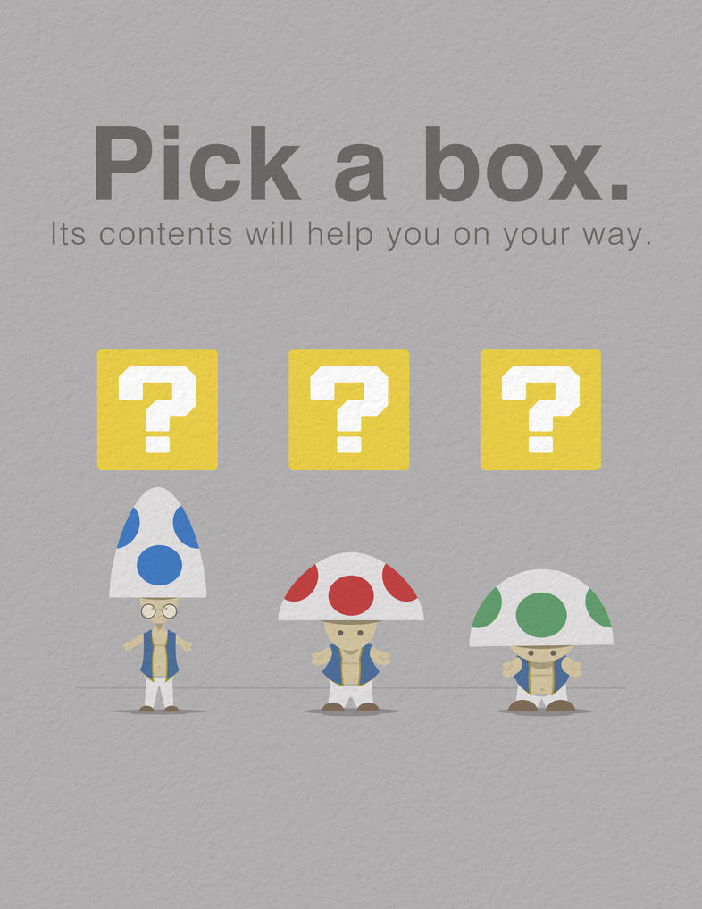 Pick a box. Its contents will help you on your way by Zimmer-man