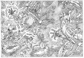 Galactus versus Anti-Monitor, commission.