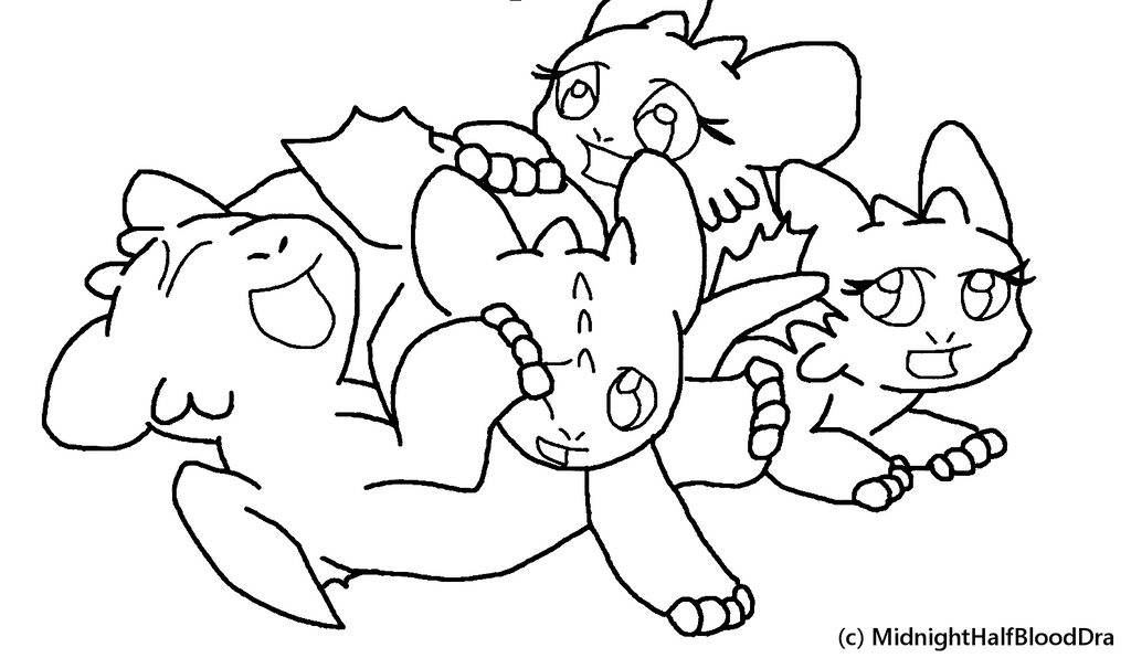 night fury coloring page - lineart nightfury cubs playing by pandafilms on deviantart