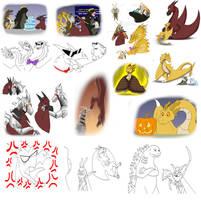 Kaiju Twitter Shenanigans Doodles 1