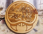 Metroid Samus and Ridley - Wood Medallion